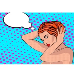 Sexy nude pop art girl in a shower vector