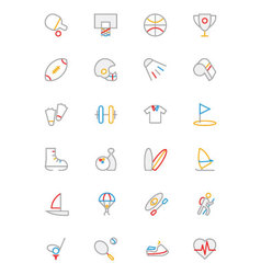 Sports Colored Outline Icons 1 vector image