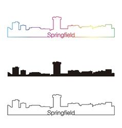 Springfield skyline linear style with rainbow vector