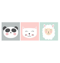 Stickers with cute animals vector