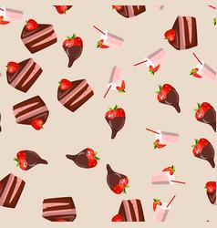 strawberry chocolate cake vector image