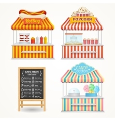 Street Food Market Set vector image