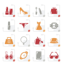 stylized female fashion objects and accessories vector image