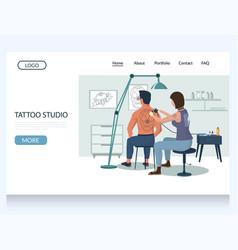 tattoo studio website landing page design vector image