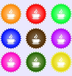 tea coffee icon sign A set of nine different vector image
