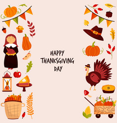 thanksgiving design with holiday symbols turkey vector image