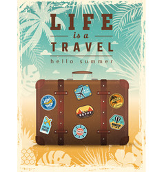 travel retro poster summer vacation placard vector image