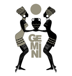 tribal zodiac gemini two women with turbans and vector image