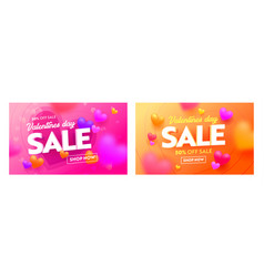 valentines day sale banners with abstract pattern vector image