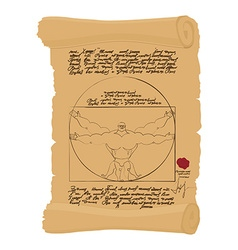 Vitruvian man of Leonardo Da Vinci humorous Spots vector image