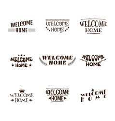 Welcome home Set of 9 labels emblems stickers or vector image