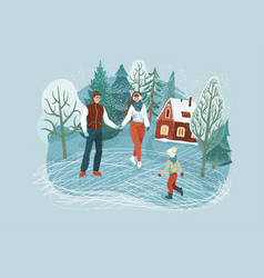 winter family pastime people skating at rink vector image