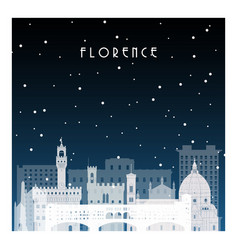 winter night in florence night city in flat style vector image