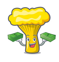 With money bag chanterelle mushroom mascot cartoon vector