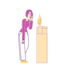 woman light cigarette from huge burning lighter vector image