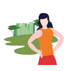woman portrait outdoors vector image