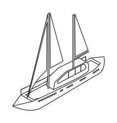 Yacht icon in outline style isolated on white vector