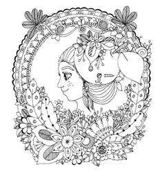zentangl girl in the floral vector image