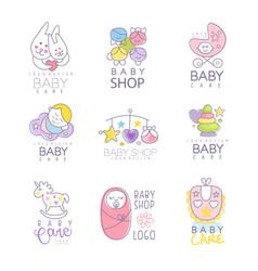 baby shop set for logo design hand drawn vector image vector image