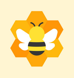 bee and honeycomb icon vector image vector image