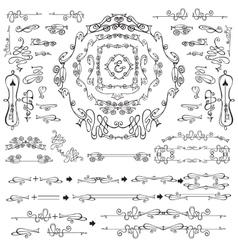 Calligraphic royal design elements frames vector