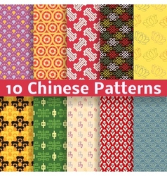 Different Chinese seamless patterns tiling vector image