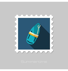 Torpedo rescue lifeguard buoy flat stamp summer vector