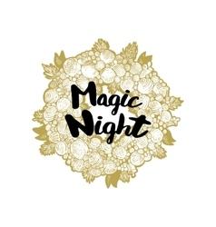 Xmas golden wreath and Magic Night vector image vector image