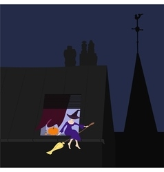 Young witch on the window sill vector image