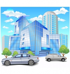 building with parking vector image vector image