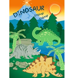 Dinosaurs stomp stomp next to a volcano vector image