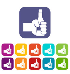 Hand holding bottle of beer icons set vector