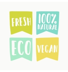 Natural and vegan flag tags vector image vector image