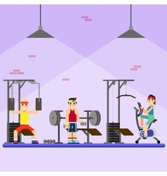 People engaged in the modern gym vector image vector image