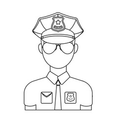 police officer icon in outline style isolated on vector image