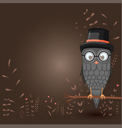 template for text with cartoon bird owl in the vector image