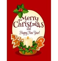 Christmas candle cartoon greeting card design vector image