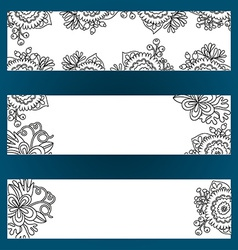 Floral banners set with flowers and berries vector image