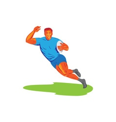 Rugby Player Running Ball WPA vector image vector image