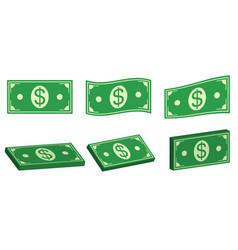set icons money dollar flat and 3d bundle of cash vector image