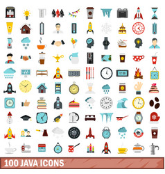 100 java icons set flat style vector image vector image