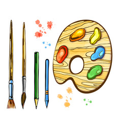 artistic brushes and palett set vector image
