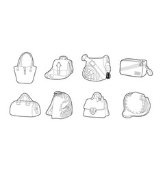 bag icon set outline style vector image
