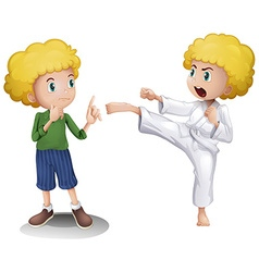 Boy in two different actions vector image vector image