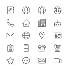 Contact thin icons vector image vector image
