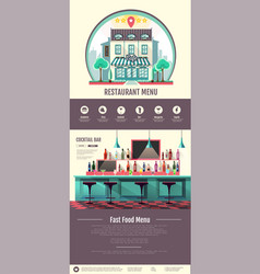 Flat style interior of cocktail bar web design vector