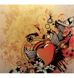 grunge background with heart vector image vector image