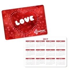 Horizontal pocket calendar vector