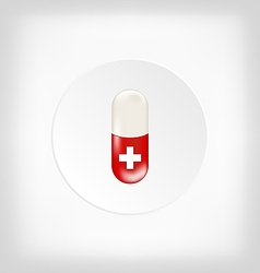 Red capsule pill with medical cross vector image