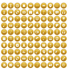 100 show business icons set gold vector